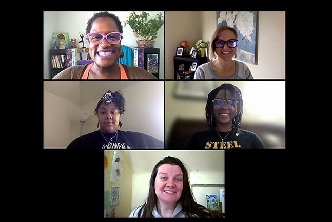 Felicia Savage Friedman (top left) and members of the AntiRacist Raja Yoga group, including Shelly Regner, Antiracist Raja Yoga Teacher and Facilitator and social worker (top right); Sheba Gittens, Antiracist Raja Yoga Practitioner, Healing Mother, and Teacher/Facilitator (middle left); Naomi Ritter, Marketing Specialist and Yoga Teacher in Training (middle right); and, Lori Crawford, Grant Fairy and Creativity Curator (bottom) pose for a Zoom portrait on Thu., April 22.