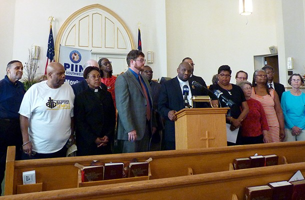 Rev. Rodney Lyde speaks at the Pittsburgh Interfaith Impact Network about race and police. - PHOTO BY RYAN DETO