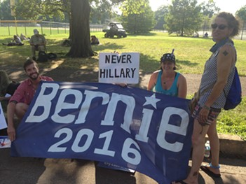 Lynn Dady (second from right) and her friends have been demonstrating in FDR Park all week for the DNC. - PHOTO BY RYAN DETO