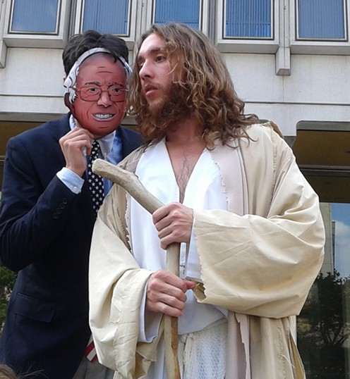 Philly Jesus gets his sermon on with Paper-Mask Bernie Sanders - PHOTO BY ASHLEY MURRAY