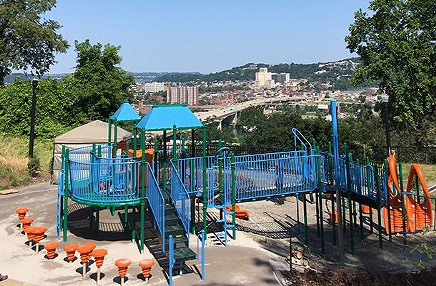The view north from August Wilson Park (North Side visible in the background) - PHOTO COURTESY OF SCOTT ROLLER/PITTSBURGH PARKS CONSERVANCY