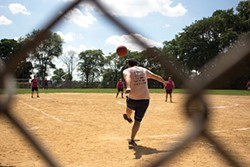 A player winds up at the Steel City kickball playoffs. - CP PHOTO BY BILLY LUDT