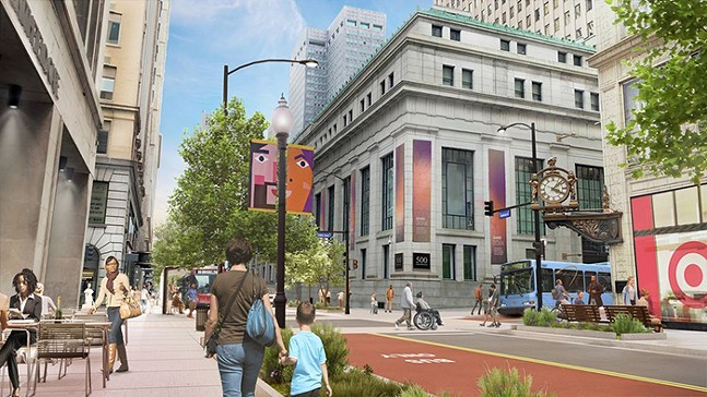 """Mock-up of """"Smithfield Reimagined"""" design for Smithfield Street in Downtown - IMAGE COURTESY OF PITTSBURGH DOWNTOWN PARTNERSHIP"""