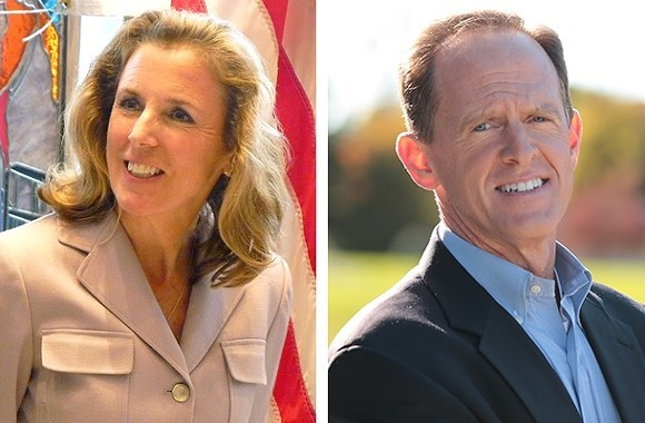 CP PHOTO OF KATIE MCGINTY BY RYAN DETO; IMAGE OF PAT TOOMEY PROVIDED BY CANDIDATE