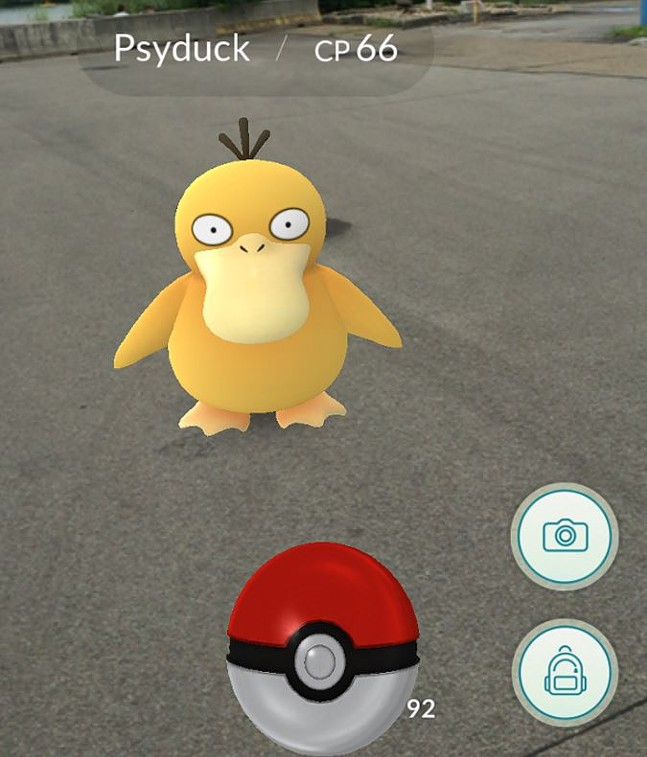 A Psyduck found near Three Rivers Heritage Trail in the Strip District. - NIANTIC