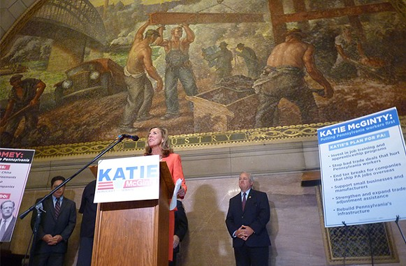 Katie McGinty speaks inside the Allegheny County Courthouse - CP PHOTO BY RYAN DETO