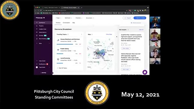 Screenshot from ZenCity presentation in front of Pittsburgh City Council Standing meeting on May 12, 2021