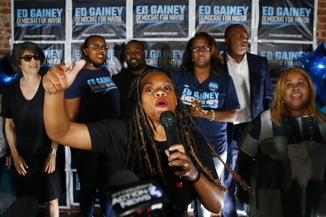 Rep. Summer Lee speaks prior to the acceptance speech by mayoral candidate Ed Gainey during his watch party. - CP PHOTO: JARED WICKERHAM