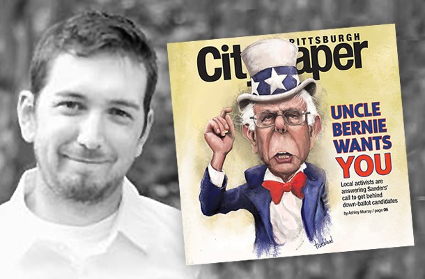 Artist Jonathan Trueblood and his cover illustration of Bernie Sanders - PHOTO COURTESY OF HEATHER WILLS