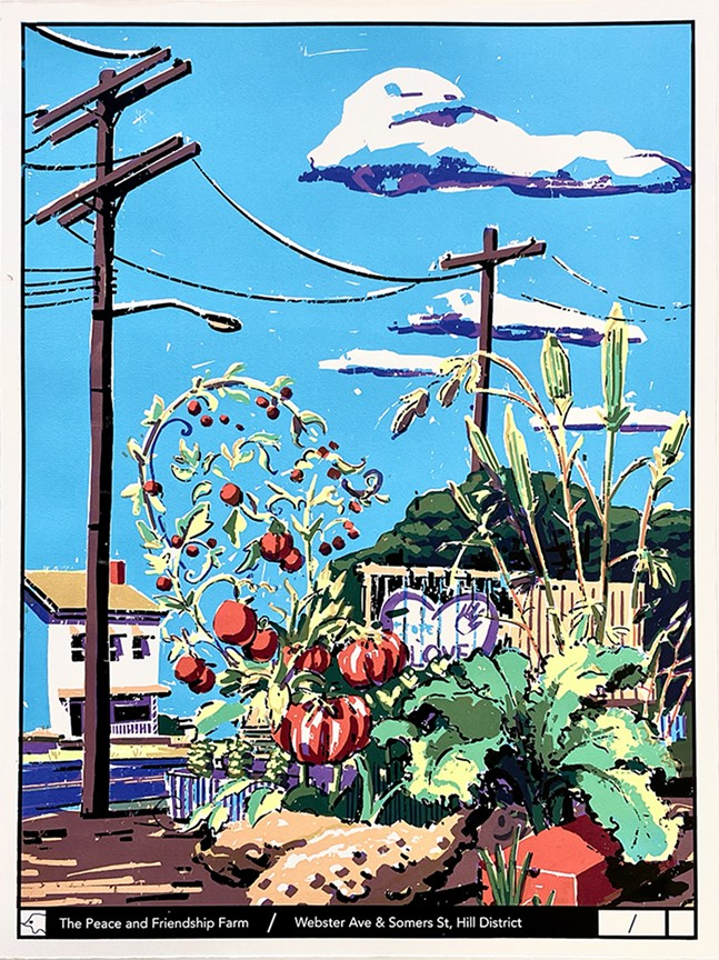 Barber's silkscreen print of The Peace and Friendship Farm in the Hill District. - COURTESY OF CHARLIE BARBER