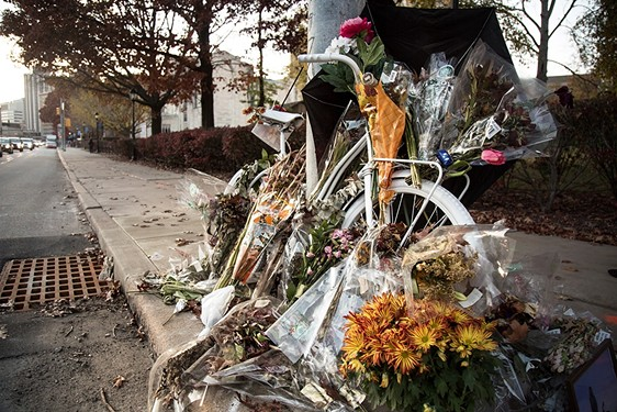 "A ""ghost bike"" commemorating the death of cyclist Susan Hicks on Forbes Avenue. - CP PHOTO BY THEO SCHWARZ"