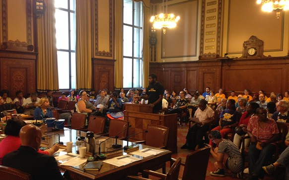 Joshua Malloy, of East Liberty, speaks at the Housing Opportunity Fund public hearing. - CP PHOTO BY RYAN DETO