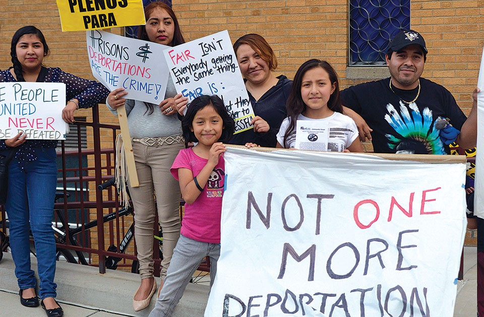 Martín Esquivel-Hernandez (right) with his family at an immigrant-rights rally on May 1 in Beechview - PHOTO COURTESY OF IKE GITTLEN