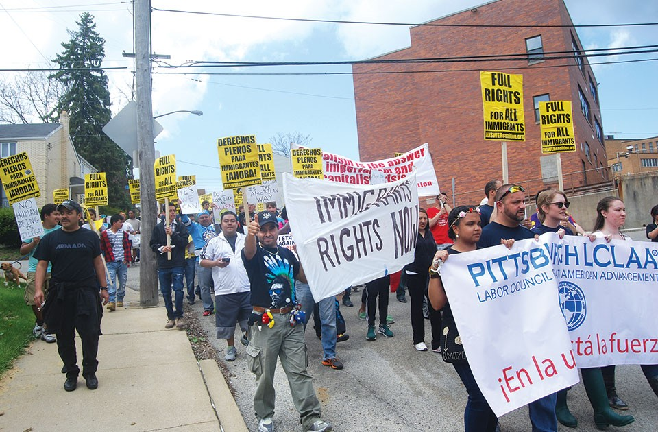 Martín Esquivel-Hernandez at a May 1 march for immigrants' rights in Beechview - CP PHOTO BY RYAN DETO
