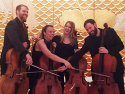 Left to right: PSO cellists Charlie Powers, Bronwyn Banert, Allie Thompson and Michael DeBruyn, will perform tomorrow at noon at Fifth Avenue Place, Downtown