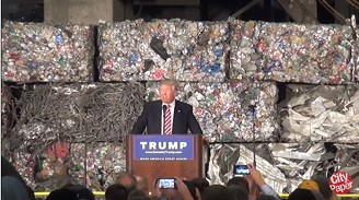 Donald Trump speaking at a aluminium processing plant in Monessen, Pa. - CP PHOTO BY ASHLEY MURRAY