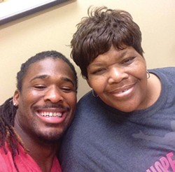 A photo of DeAngelo Williams and his mother, Sandra Hill, from his Facebook page