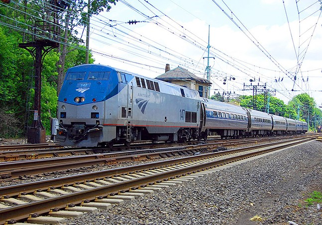 An Amtrak train at Bryn Mawr, Pa. traveling westbound towards Pittsburgh - WIKIMEDIA COMMONS PHOTO BY TAM0031