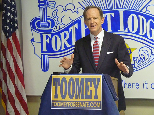 Pat Toomey at a campaign stop in Pittsburgh - CP PHOTO BY RYAN DETO