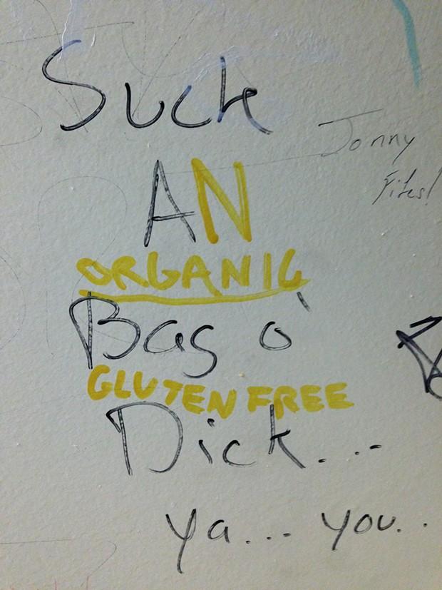 Bathroom graffiti at Gus's in Lawrenceville. - PHOTOGRAPH BY ALEX GORDON