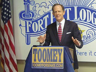 Pat Toomey at an October campaign press conference in Beechview - CP PHOTO BY RYAN DETO