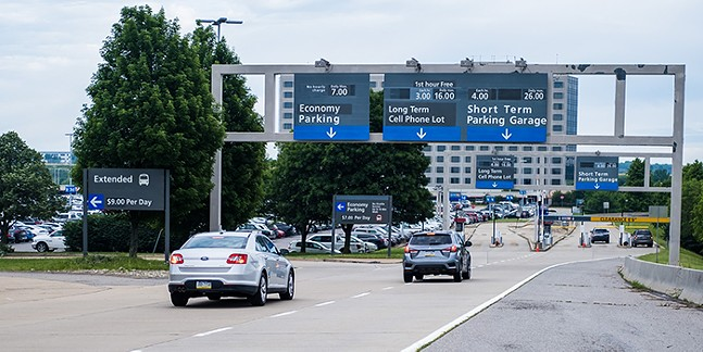 Ramp to parking lots at the Pittsburgh International Airport - PHOTO COURTESY OF PITTSBURGH INTERNATIONAL AIRPORT