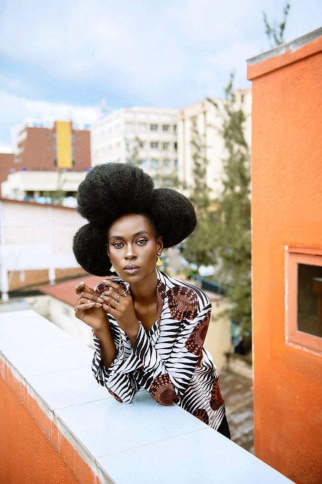 A model wears a shirt from Moshions and accessories by Ktsobe, both of which are featured brands in FestivalAFRICANA's spotlight on Rwanda. - PHOTO: PHILIPPE NYIRIMIHIGO AND GAEL RUBONEKA VANDE WEGHE/COURTESY OF FESTIVALAFRICANA
