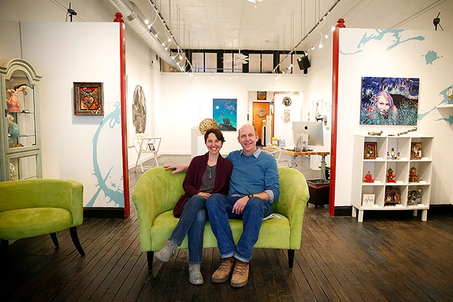Owners Nicole Capozzi and Josh Hogan of Boxheart Gallery, a Hidden Gem in Bloomfield - CP PHOTO: JARED WICKERHAM