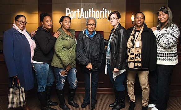 Starr Magwood (third from left) with other Mifflin Estates residents who requested bus service on Oct. 28 - CP PHOTO BY LUKE THOR TRAVIS