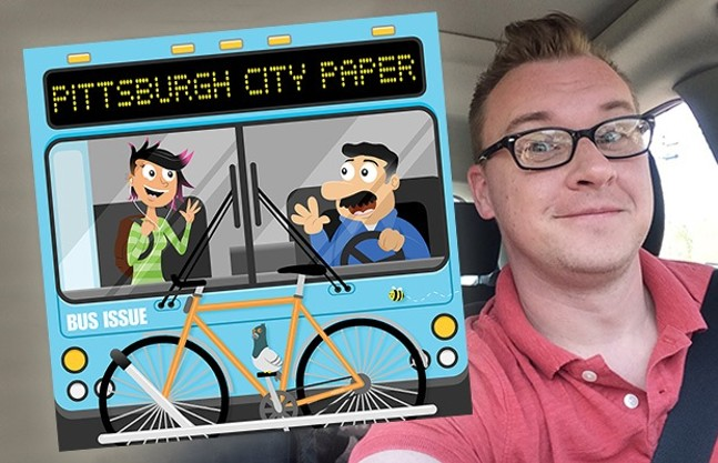 Artist Nathan Mazur with his Bus Issue cover illustration