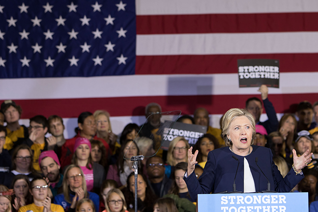 Hillary Clinton takes the stage at Heinz Field - CP PHOTO BY LUKE THOR TRAVIS