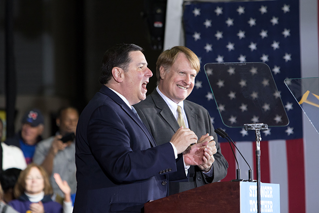 Pittsburgh Mayor Bill Peduto and Allegheny County Chief Executive Rich FItzgerald - CP PHOTO BY LUKE THOR TRAVIS