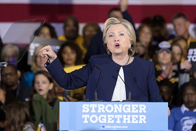 Hillary Clinton at her Nov. 4 appearance in Pittsburgh - CP PHOTO BY LUKE THOR TRAVIS
