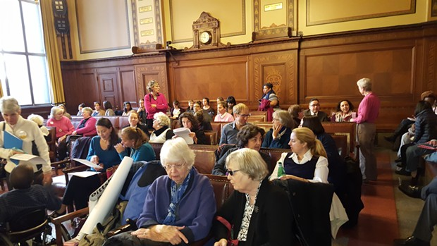 Dozens filled Pittsburgh City Council chambers for a public hearing on gender equity - CP PHOTO BY REBECCA ADDISON