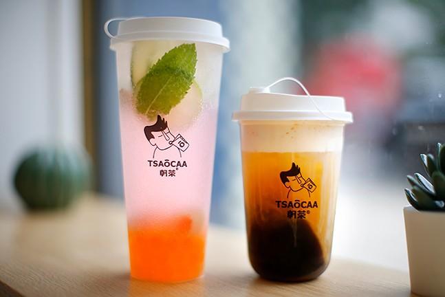 Lychee mojito (left) and the jasmine milk tea at Tsaocaa Tea - CP PHOTOS: JARED WICKERHAM
