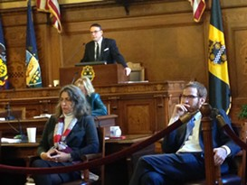 Pittsburgh City Councilors Dan Gilman (right) and Bruce Kraus (background) - CP PHOTO BY RYAN DETO