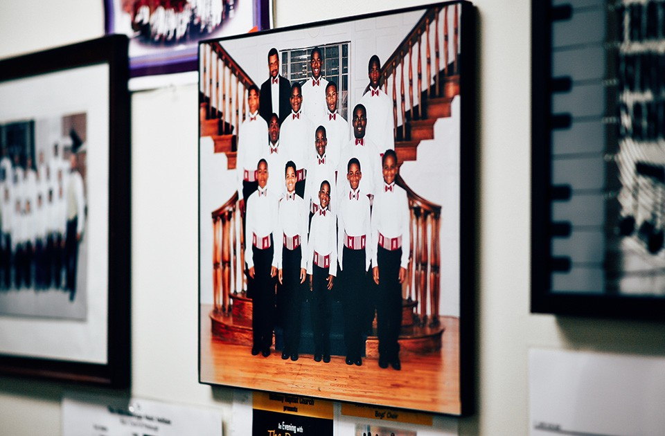 A photo of Joseph Hall (center) when he performed in the boys' choir hangs on a wall at the Afro American Music Institute. - CP PHOTO BY SARAH HUNY YOUNG
