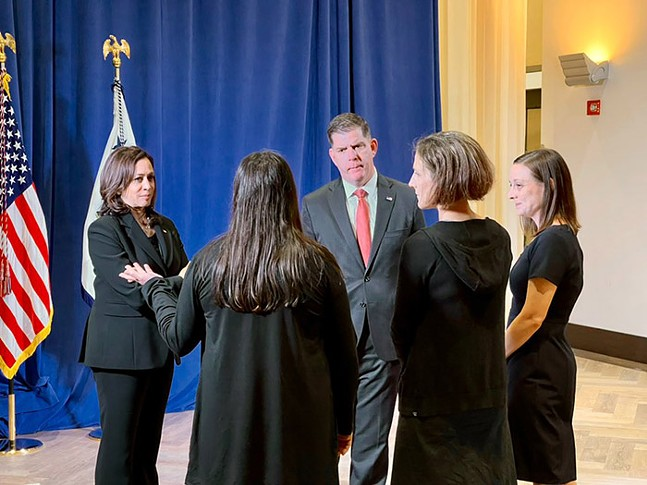 Vice President Kamala Harris and U.S. Labor Secretary Marty Walsh with Google contractors in Pittsburgh on Mon., June 21, 2021 - TWITTER PHOTO BY VP KAMALA HARRIS DIRECTOR OF PRESS OPERATIONS PETER VELZ