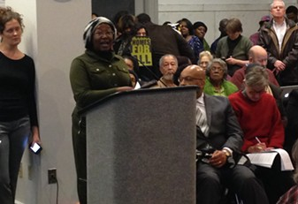 Advocate speaking out in opposition to LG's proposed redevelopment of Penn Plaza. - CP PHOTO BY RYAN DETO