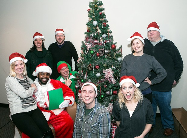 A few members of City Paper's editorial staff with Santa Terry Jones and elf, Mike Wysocki - PHOTO BY JOHN COLOMBO