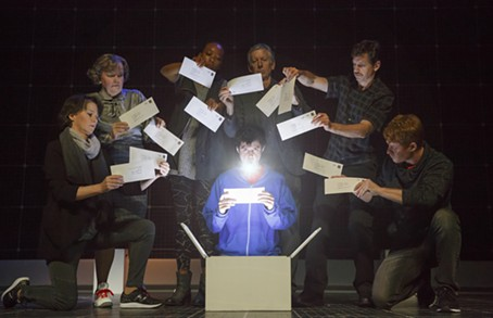"""Adam Langdon (center) in """"The Curious Incident of the Dog in the Night-Time"""" - PHOTO COURTESY OF JOAN MARCUS"""