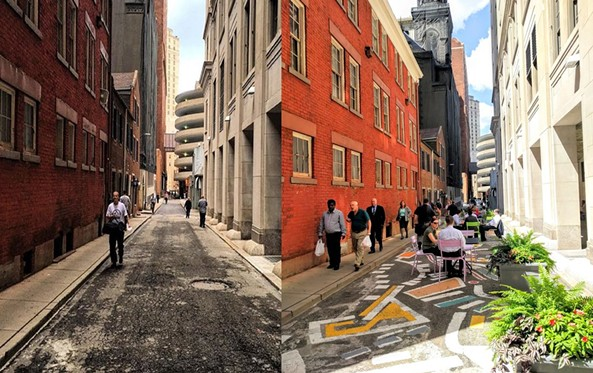 Strawberry Way before (left) and after (right) - PHOTO COURTESY OF ENVISION DOWNTOWN