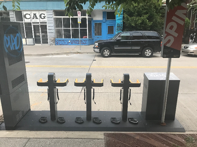 Spin scooter docking station on Penn Avenue in Garfield - CP PHOTO: RYAN DETO