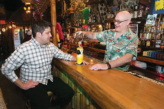 Pittsburgh Drinks co-authors Cody McDevitt and Sean Enright at Tiki Lounge - CP PHOTO BY JOHN COLOMBO