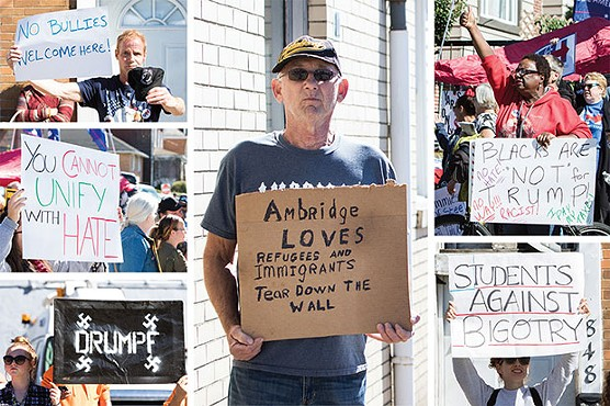 Protesters outside Donald Trump's campaign visit to Ambridge in October 2016 - CP PHOTOS BY LUKE THOR TRAVIS