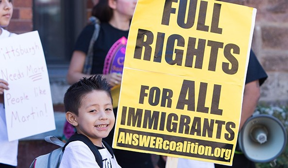 Martín Esquivel-Hernandez's son, Alex, at a immigrant-rights rally in Beechview in September 2016. - CP PHOTO BY LUKE THOR TRAVIS