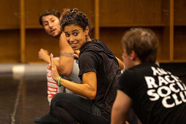 Pittsburgh CLO dancers learn new dances for The Wizard of Oz in a rehearsal room inside Heinz Field. - CP PHOTO: KAYCEE ORWIG