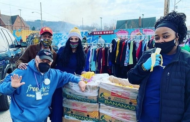 For Good PGH team distributes donated bananas and clothing at the Free Store. - COURTESY OF FOR GOOD PGH