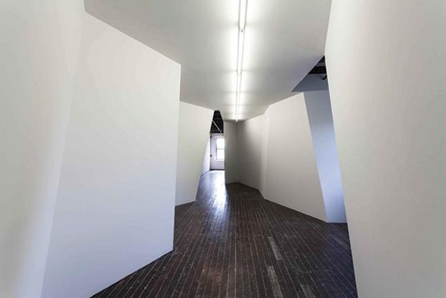 """Third Floor West gallery 500 Sampsonia Way,"" a room-sized installation by Stephen Bram"