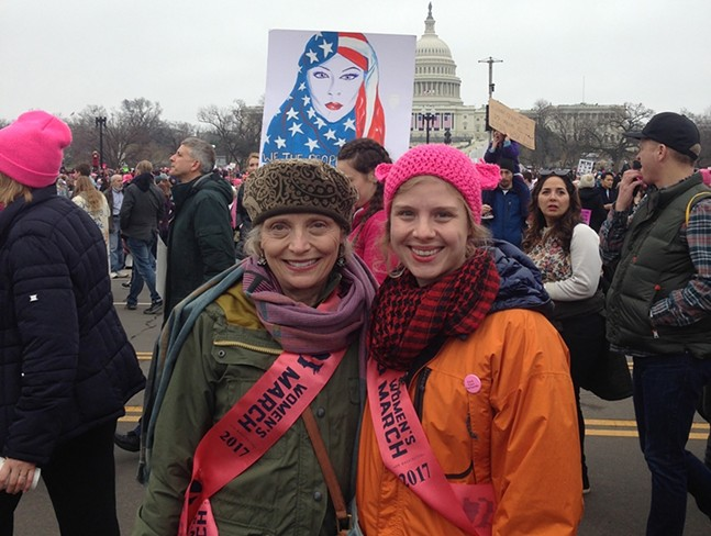 Celine Roberts (right) with her mother, Suellen S. Roberts, at the March on Washington